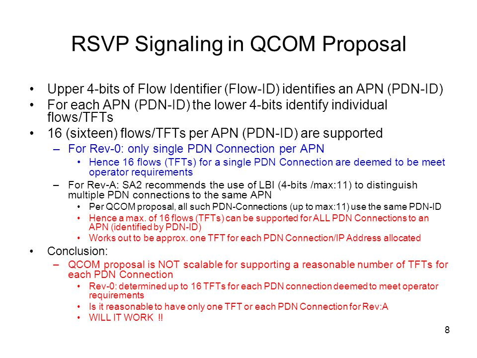 RSVP Signaling in QCOM Proposal