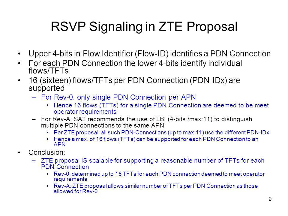 RSVP Signaling in ZTE Proposal