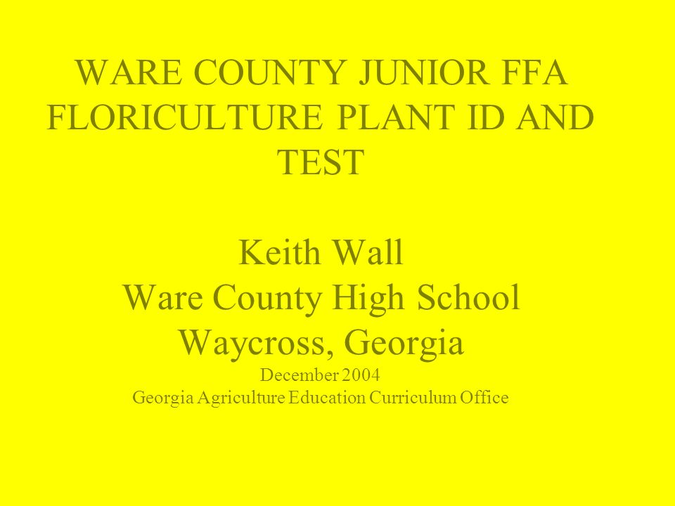 WARE COUNTY JUNIOR FFA FLORICULTURE PLANT ID AND TEST Keith Wall Ware County High School Waycross, Georgia December 2004 Georgia Agriculture Education Curriculum Office