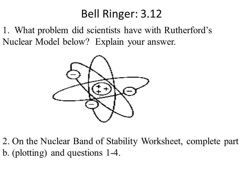 Bell Ringer: 3.12 1. What problem did scientists have with Rutherford's Nuclear Model below Explain your answer.