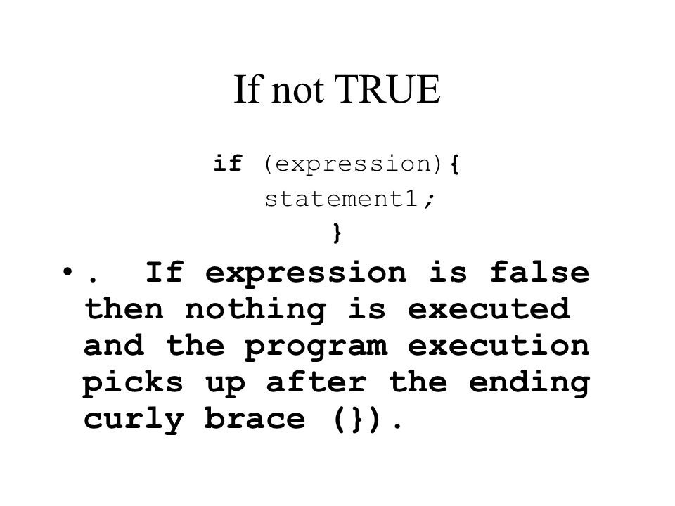 If not TRUE if (expression){ statement1; }
