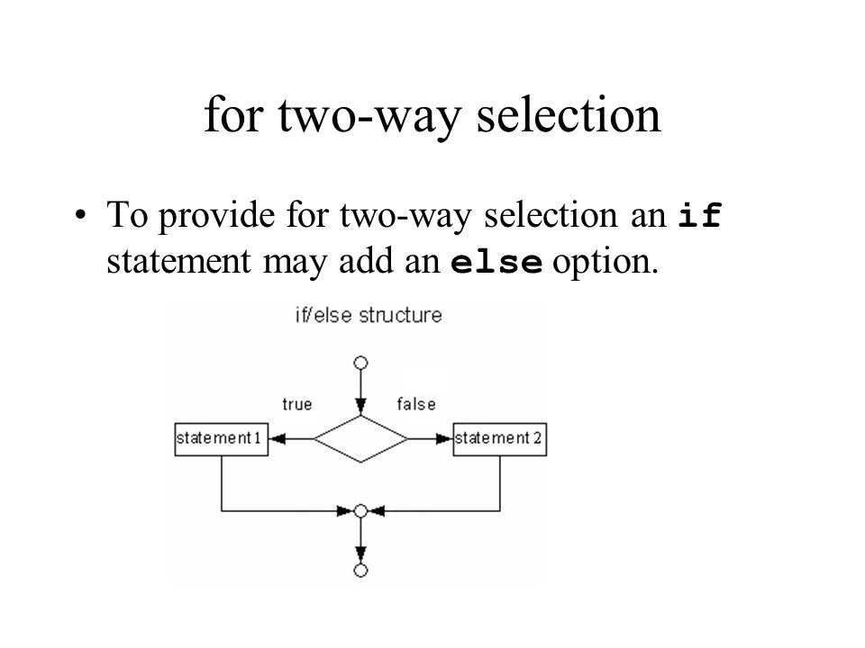 for two-way selection To provide for two-way selection an if statement may add an else option.