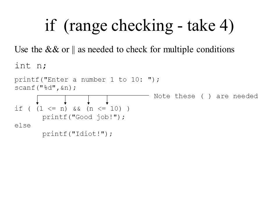 if (range checking - take 4)