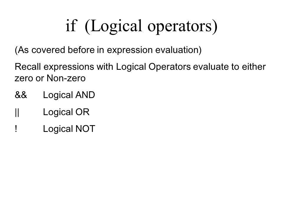 if (Logical operators)