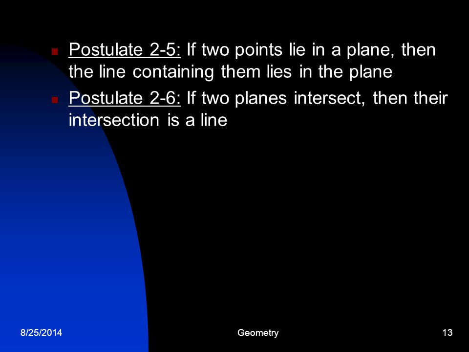 Postulate 2-5: If two points lie in a plane, then the line containing them lies in the plane