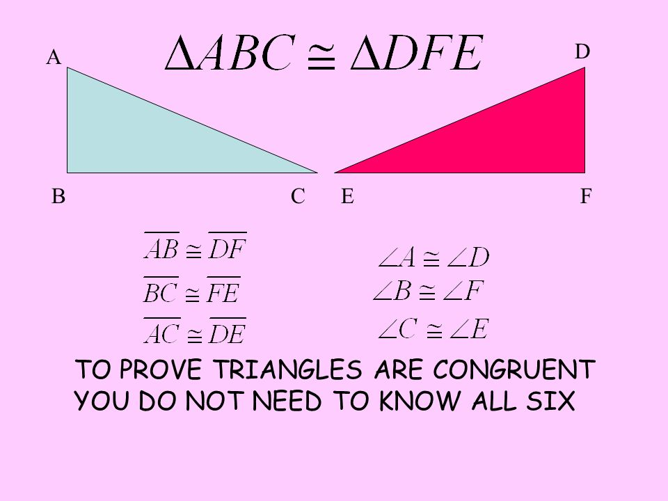 TO PROVE TRIANGLES ARE CONGRUENT YOU DO NOT NEED TO KNOW ALL SIX