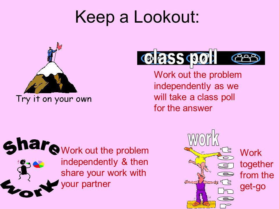 Keep a Lookout: Work out the problem independently as we will take a class poll for the answer.