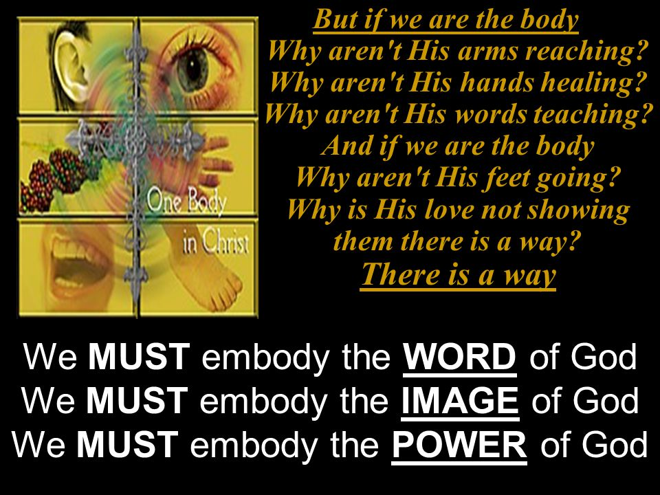 We MUST embody the WORD of God We MUST embody the IMAGE of God