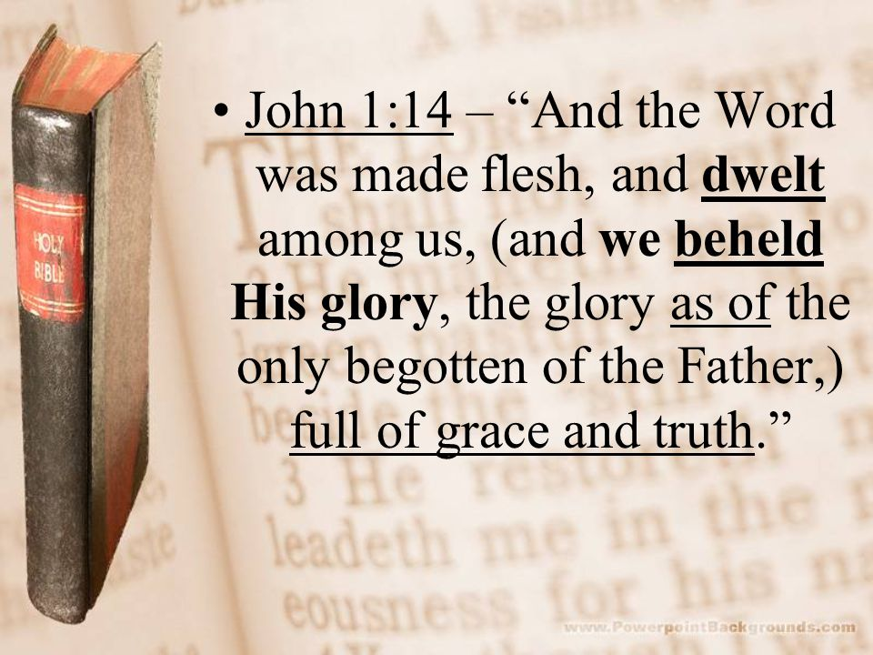 John 1:14 – And the Word was made flesh, and dwelt among us, (and we beheld His glory, the glory as of the only begotten of the Father,) full of grace and truth.