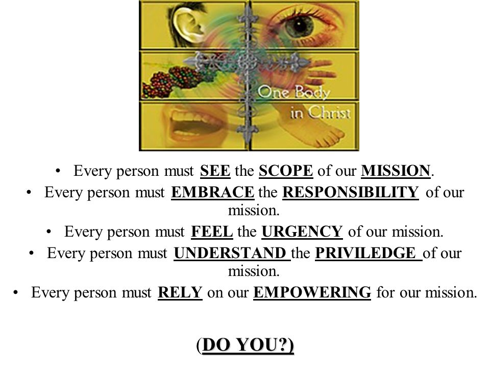(DO YOU ) Every person must SEE the SCOPE of our MISSION.