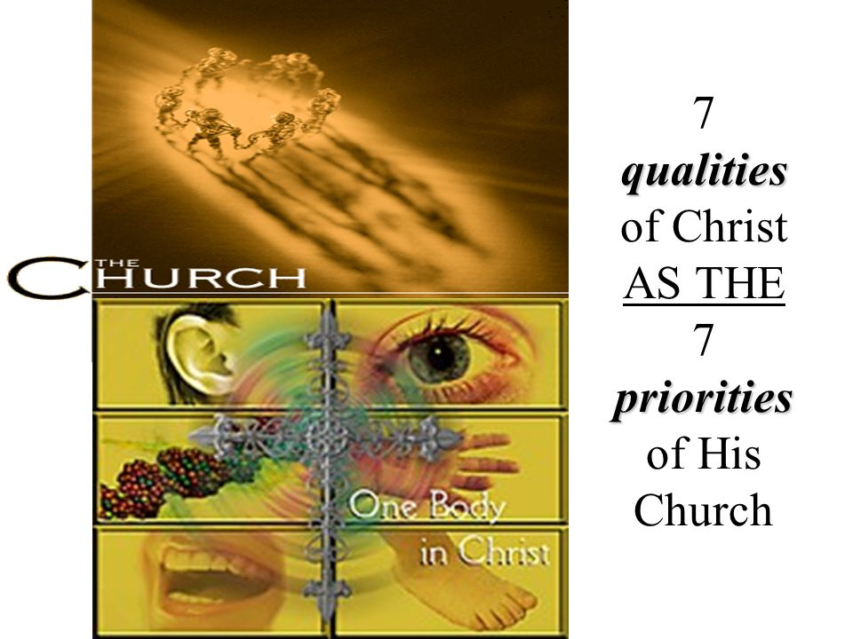 7 qualities of Christ AS THE 7 priorities of His Church
