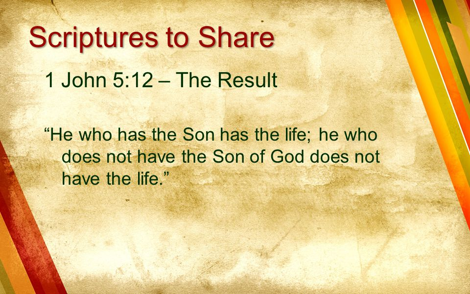 Scriptures to Share 1 John 5:12 – The Result