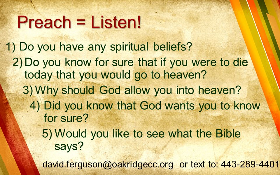 Preach = Listen! Do you have any spiritual beliefs