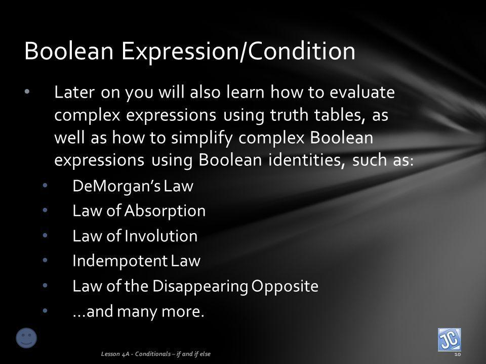 Boolean Expression/Condition