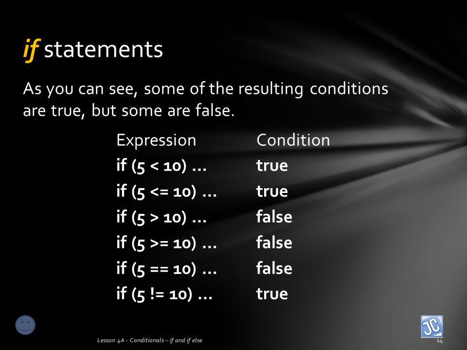 if statements As you can see, some of the resulting conditions are true, but some are false. Expression Condition.