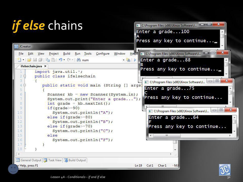if else chains Lesson 4A - Conditionals – if and if else