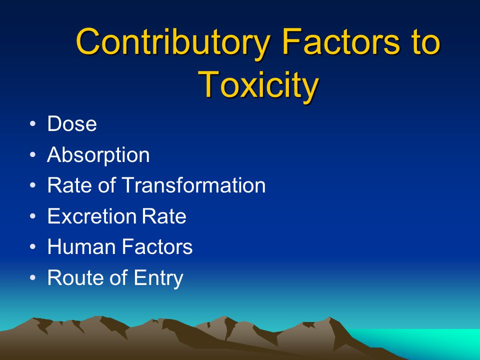 Contributory Factors to Toxicity