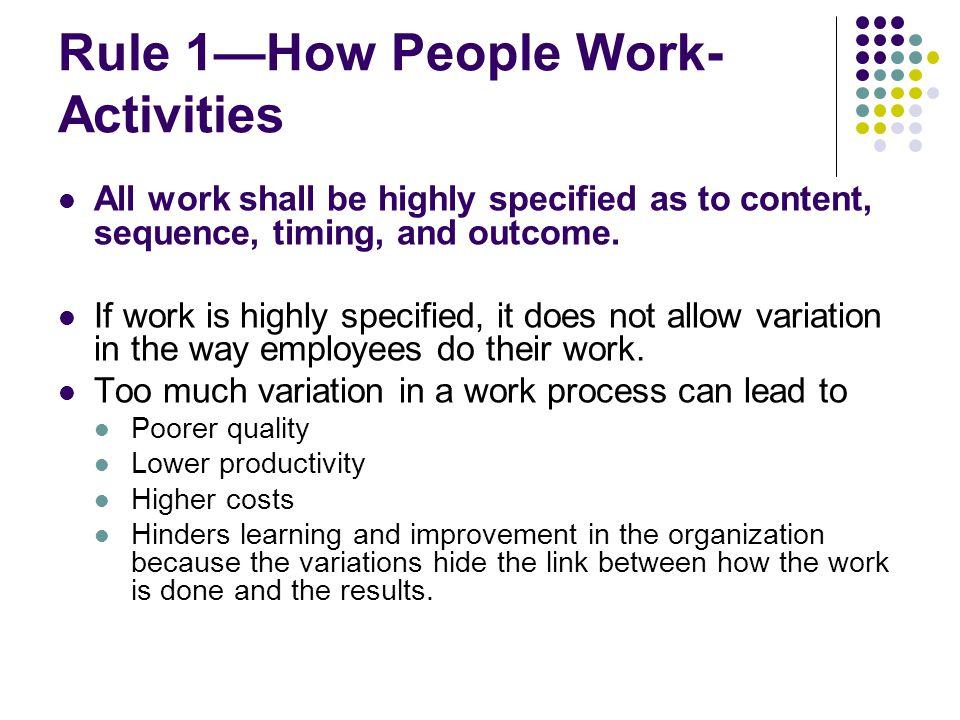 Rule 1—How People Work-Activities