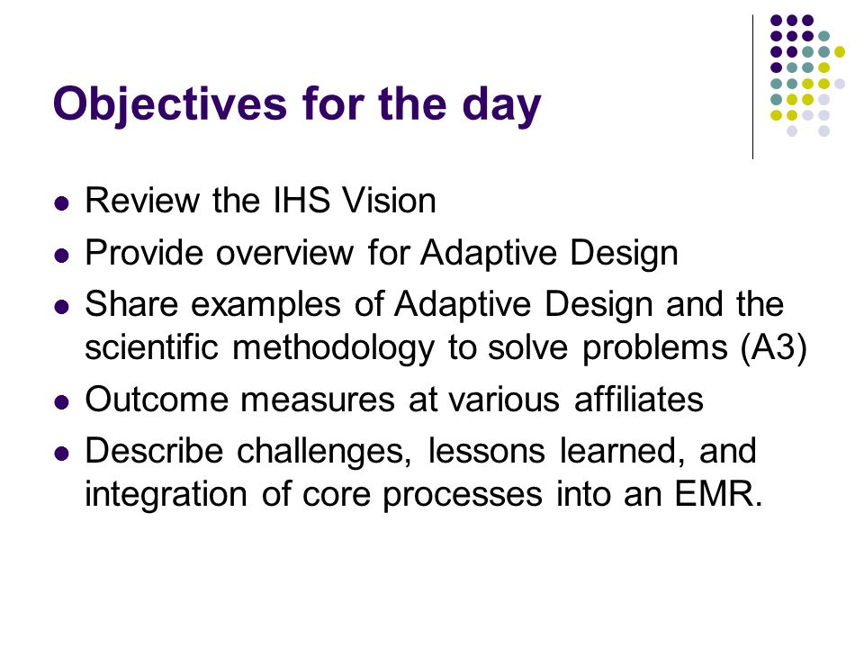 Objectives for the day Review the IHS Vision