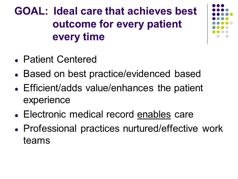 GOAL: Ideal care that achieves best outcome for every patient every time