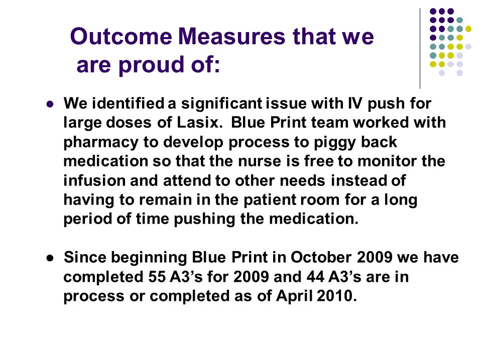 Outcome Measures that we are proud of: