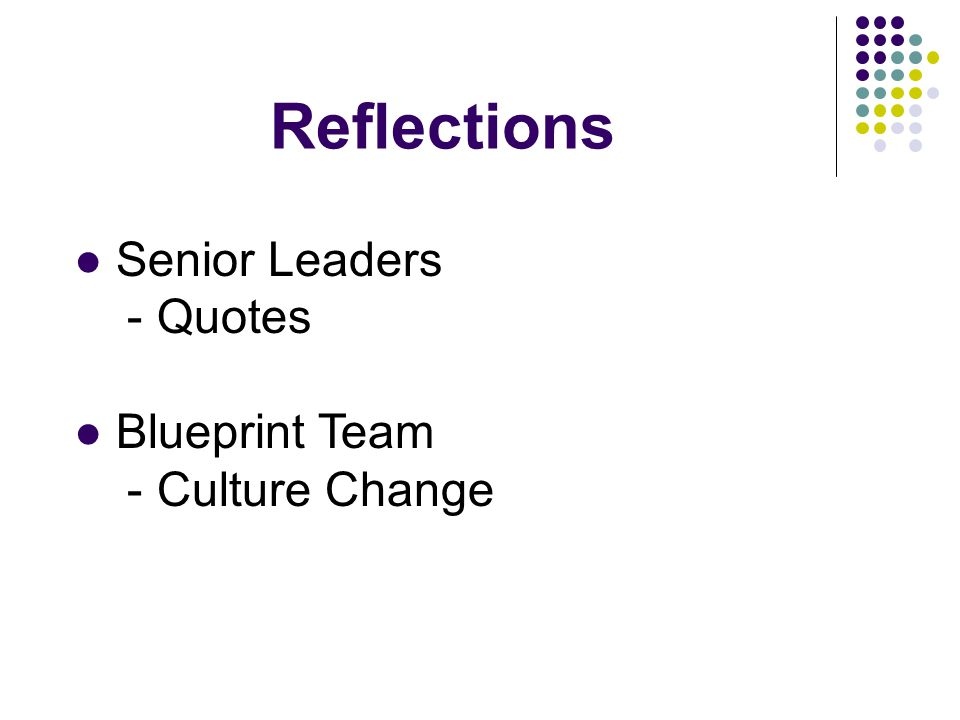 Reflections Senior Leaders - Quotes Blueprint Team - Culture Change