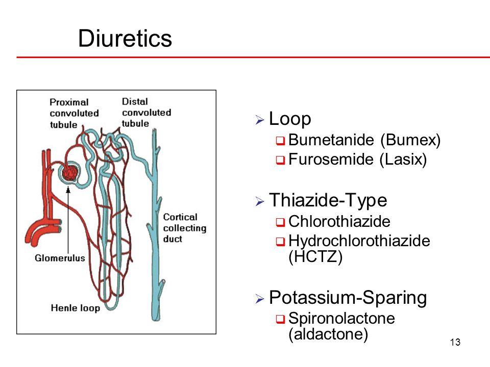 Diuretics Loop Thiazide-Type Potassium-Sparing Bumetanide (Bumex)