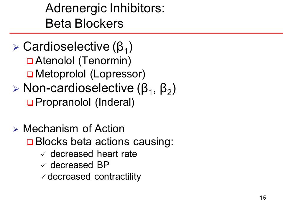 Adrenergic Inhibitors: Beta Blockers