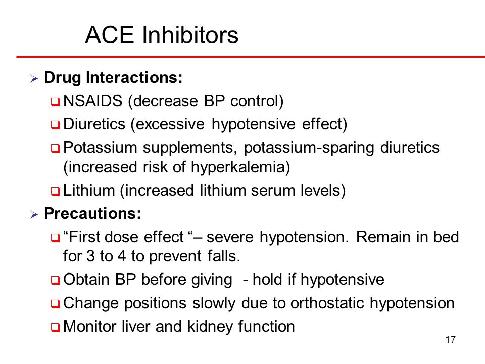 ACE Inhibitors Drug Interactions: NSAIDS (decrease BP control)