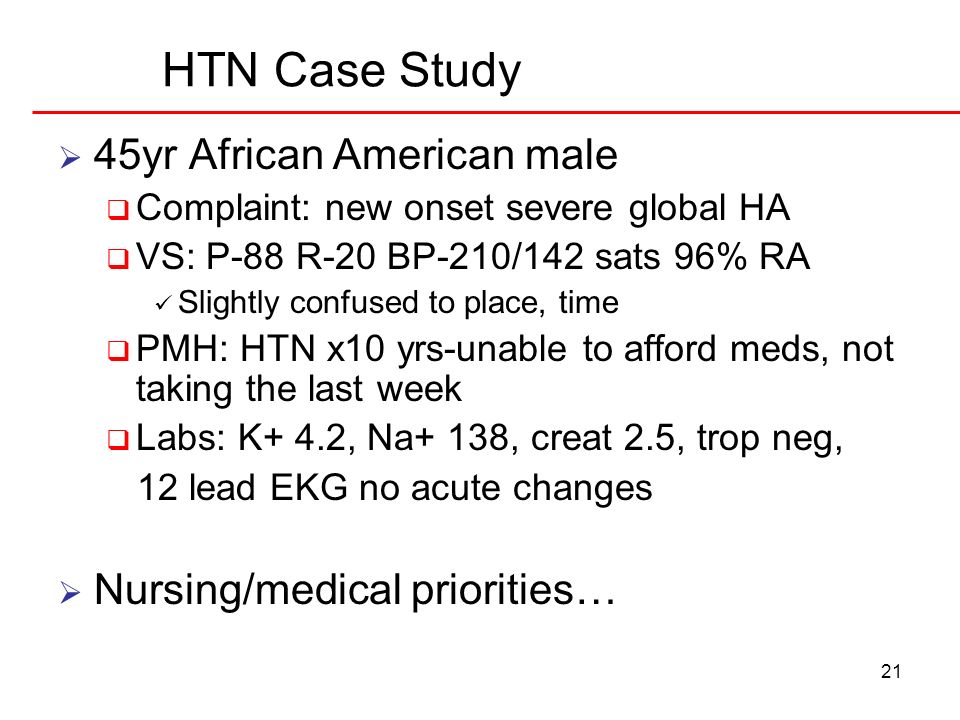 HTN Case Study 45yr African American male Nursing/medical priorities…