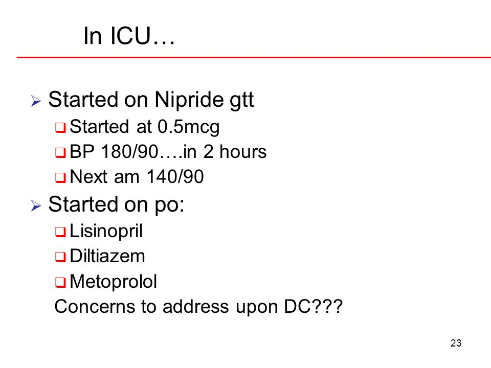 In ICU… Started on Nipride gtt Started on po: Started at 0.5mcg