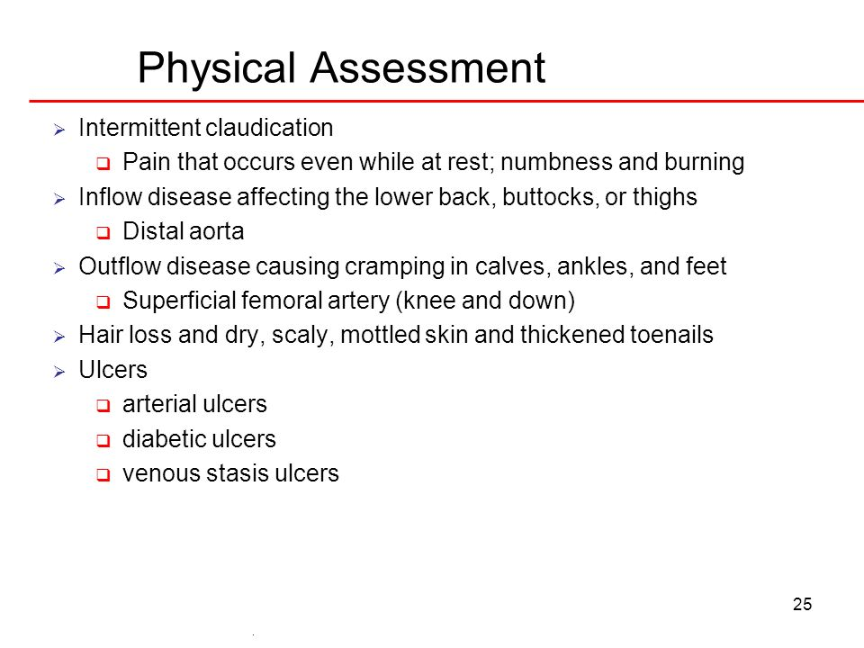 Physical Assessment Intermittent claudication