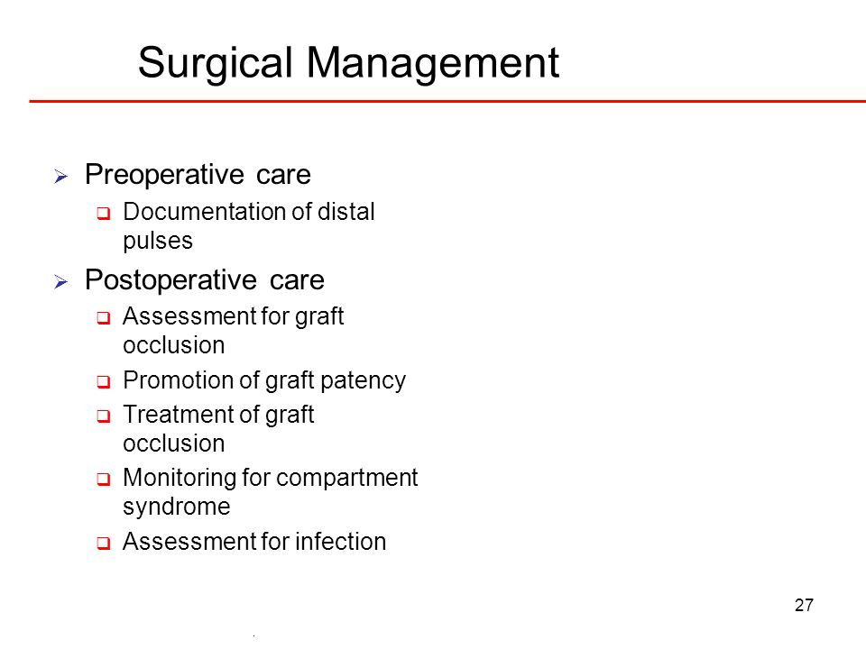 Surgical Management Preoperative care Postoperative care