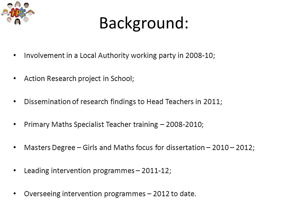 Background: Involvement in a Local Authority working party in ;