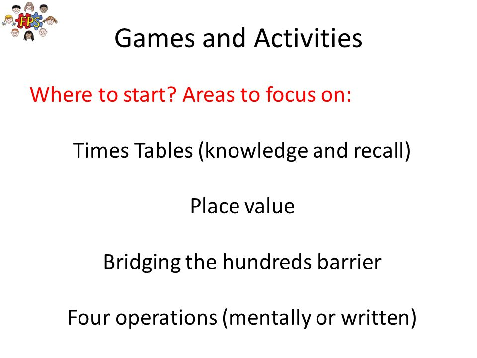 Games and Activities Where to start Areas to focus on: