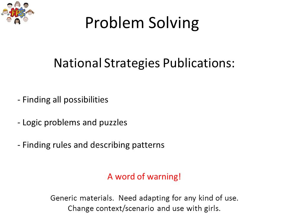 Problem Solving National Strategies Publications: