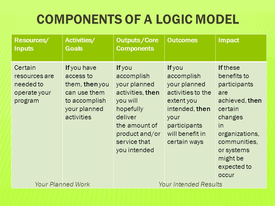 components of a Logic Model