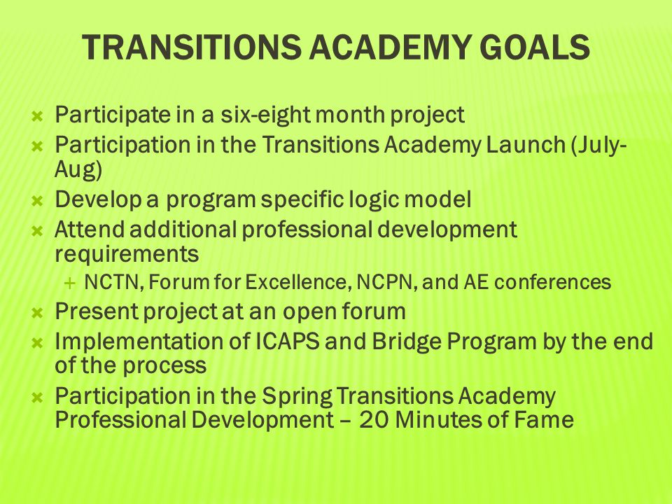 Transitions Academy Goals