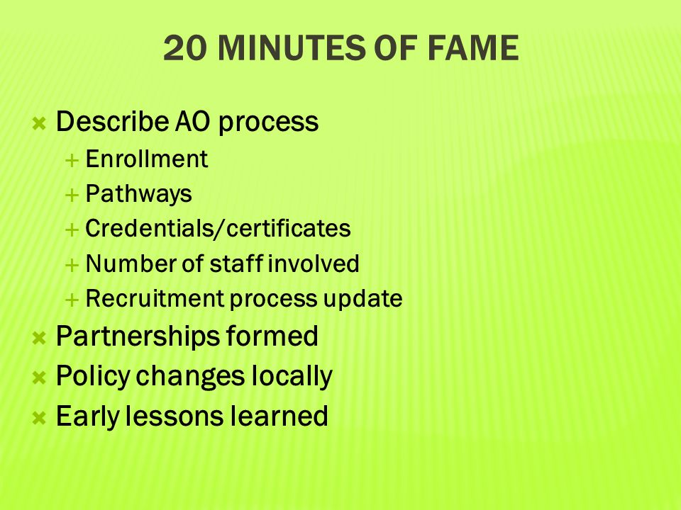 20 Minutes of Fame Describe AO process Partnerships formed