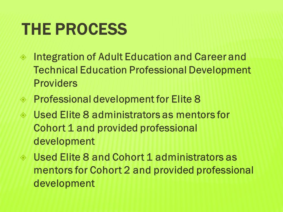 The process Integration of Adult Education and Career and Technical Education Professional Development Providers.