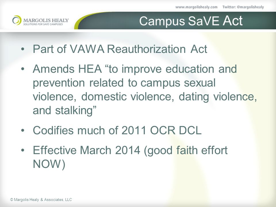 Campus SaVE Act Part of VAWA Reauthorization Act