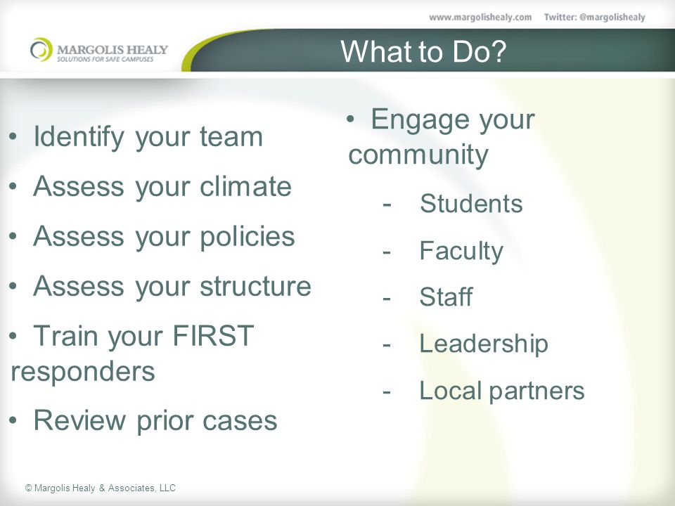 What to Do Engage your community Identify your team