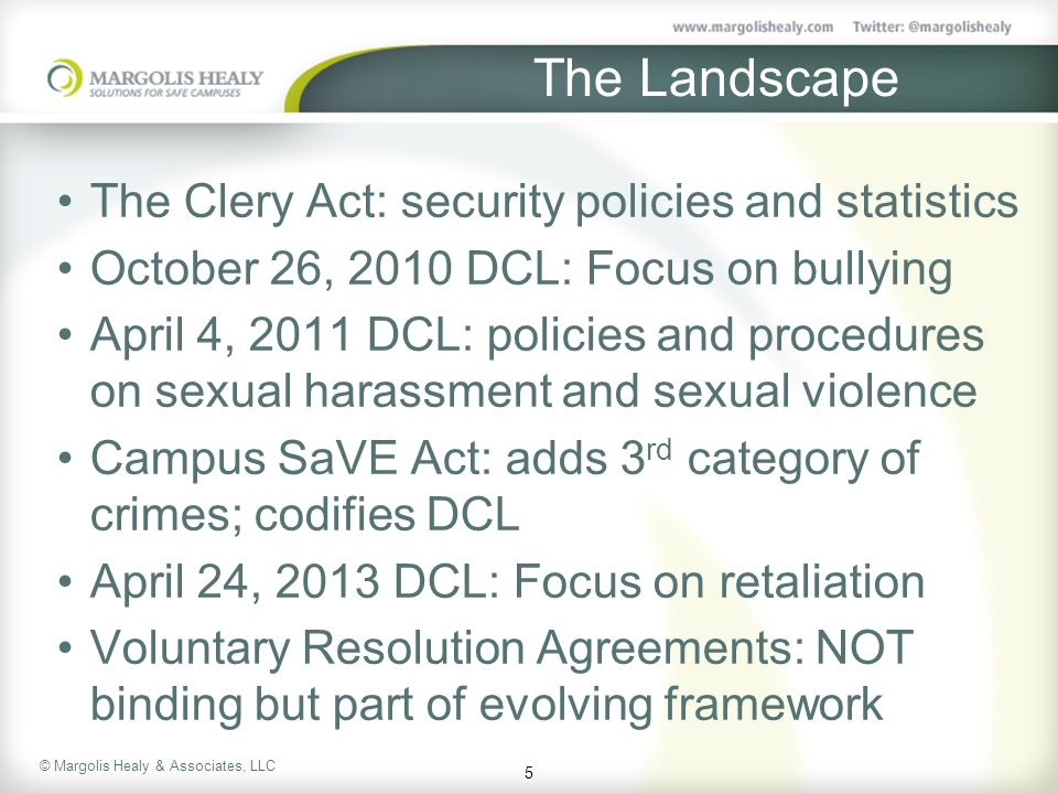 The Landscape The Clery Act: security policies and statistics