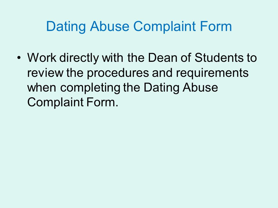 Dating Abuse Complaint Form