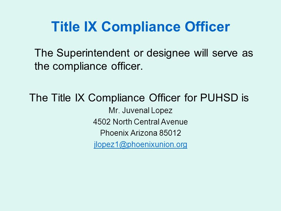 Title IX Compliance Officer