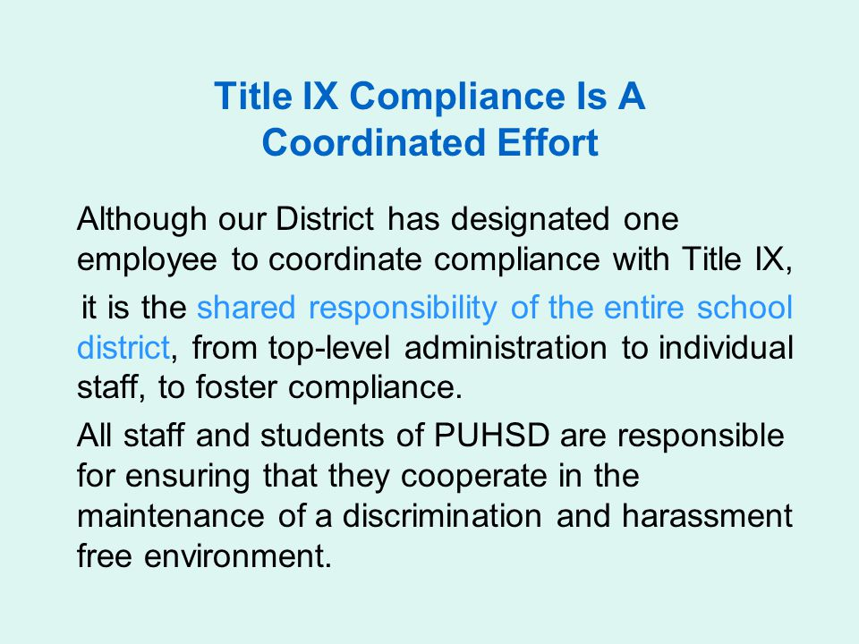 Title IX Compliance Is A Coordinated Effort