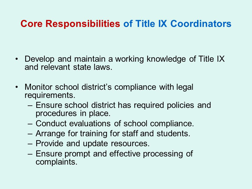 Core Responsibilities of Title IX Coordinators