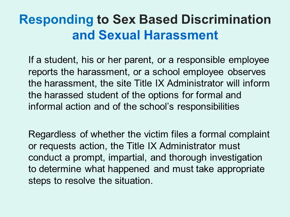 Responding to Sex Based Discrimination and Sexual Harassment