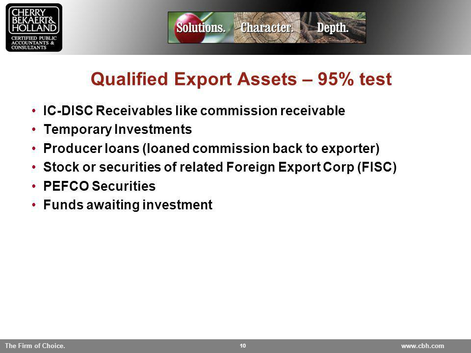 Qualified Export Assets – 95% test