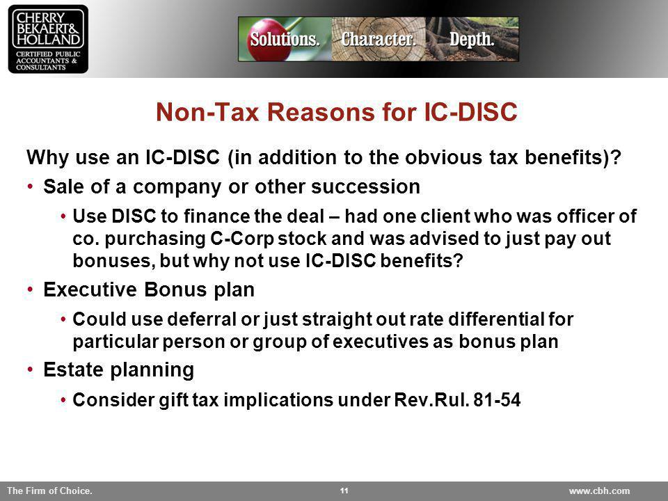 Non-Tax Reasons for IC-DISC